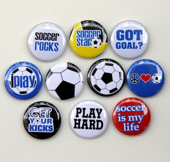 Soccer Star Set of 10 Pinback Buttons Badges 1 inch - Flatbacks or Magnets