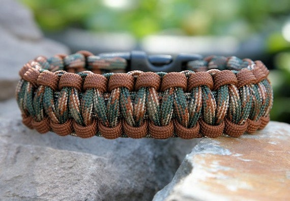 Paracord Survival Bracelet - Camo Brown and Woodland