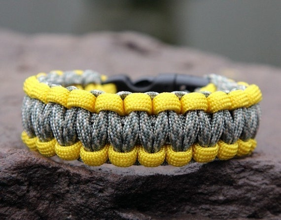 Paracord Survival Bracelet - Yellow and ACU Camo Support Our Troops