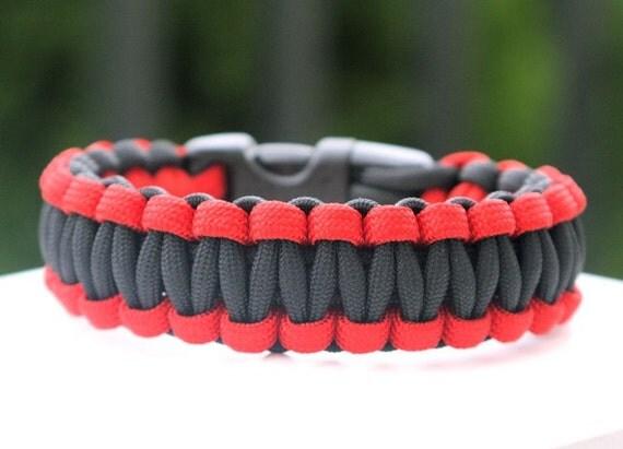 550 Paracord Survival Bracelet - Red and Black
