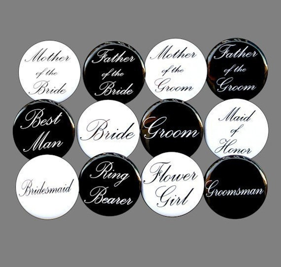custom bridal party buttons pins badges 1 1 2 inch set of 12. Black Bedroom Furniture Sets. Home Design Ideas