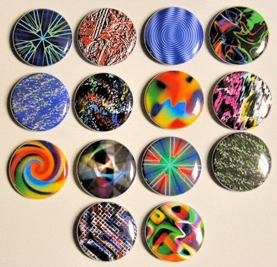 Abstracts - Set of 14 - Buttons Pinbacks Badges 1 inch - Flatbacks or Magnets