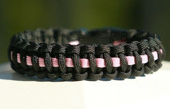 SLIM Paracord Survival Bracelet Cobra Deluxe - Breast Cancer Awareness