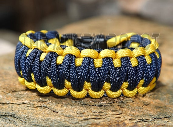 Paracord Survival Bracelet  King Cobra - Navy Blue and Yellow