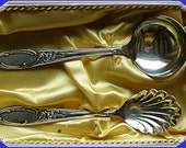 Antique 2 Silver Spoons Sugar Whipped Cream in org Box Vintage England Europe