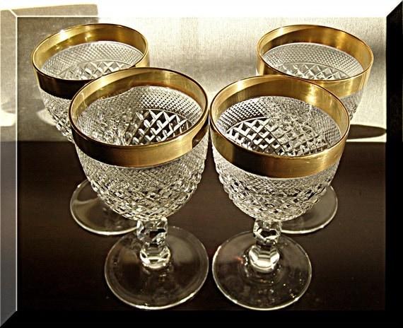 Cut Glass Crystal White Wine Glasses free blown Diamond hand cut 24K Gold Rim 4 pc European Heritage Estate