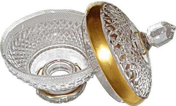 Diamond cut Crystal Glass bowl with Lid free blown hand cut 24K Gold Rim European Heritage Estate