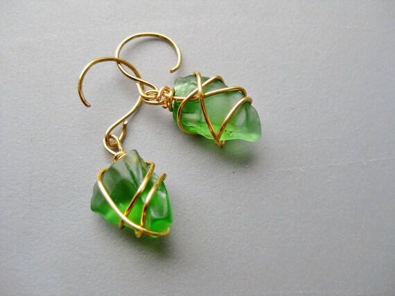 Beautiful Gold Ton Wire Wrapped Green Beach Glass Earrings