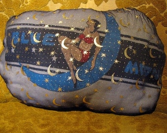Once in a Blue Moon Upcycled Celestial Safe Sex Pillow, Decorative/Throw Pillow w/ Condoms & Lube, Shiny, Stars, OOAK