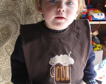 Creamy Root Beer Baby/Toddler Bib - Upcycled, Reversible, Full, Large, Brown, Hansen's, Mug, Sesame Street, Alphabet, OOAK