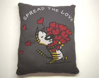 Spread the Love, Not the Disease -  Upcycled Safe Sex Pillow, Decorative/Throw w/ Condoms & Lube, Gray, Red, Heart, Organic, Cat, Mom, OOAK