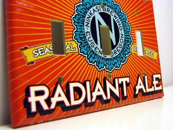 Radiant Ale - Recycled Triple Switchplate Cover, Ninkaski Brewing, Eugene, Beer, Bright, Orange, Turquoise, Summer, Seasonal, Northwest