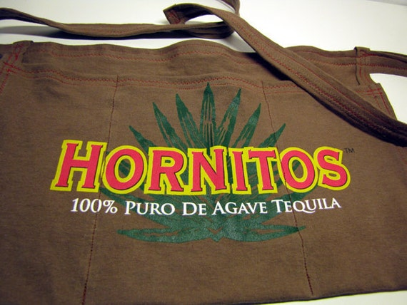 Hornitos Drink Responsibly - Upcycled Sauza Tequila T-shirt Apron, Half, Waitress, Bartender, Hostess, Vendor, Brown, Red, Agave Plant, OOAK