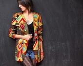 vintage wild and vibrant watercolor print blazer