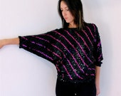 vintage 80s SEQUIN black and hot pink striped BATWING top, small-large