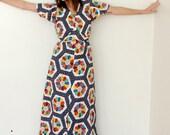 vintage quilted pinwheel print maxi dress