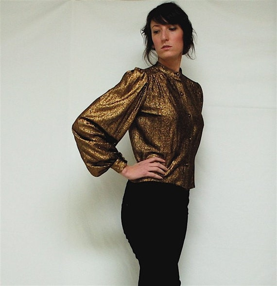 vintage 80s puff sleeve gold blouse