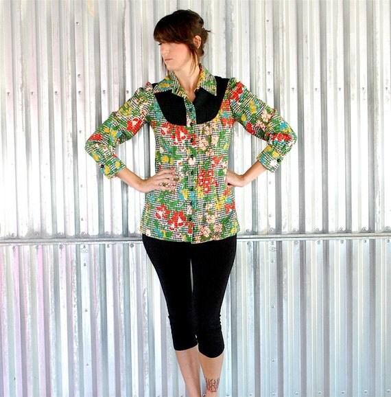 vintage joseph magnin floral checkered print blouse