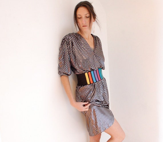 vintage metallic silver and black slouch dress
