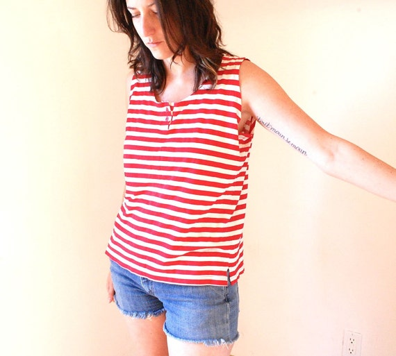 vintage red and white striped tank top