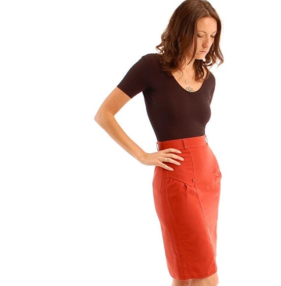 FREE SHIPPING vintage 70s rust red SECRETARY pencil skirt, small