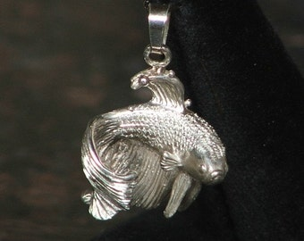 FINNIE- LOVE and WAR- without bubbles Sterling Silver Siamese Fighting Fish/Betta Pendant-Made to Order