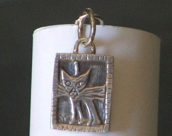 Purr Kitty Sterling Silver Charm/Pendant Ready to Ship