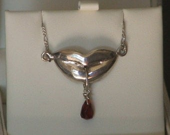 FIRST TASTE: Sterling Silver Kissing Lips with Red Jade Drop Necklace- Made to Order