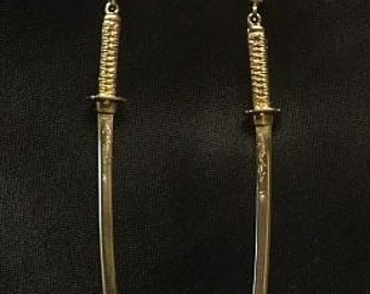 14K Yellow Gold Japanese Dragon Katana Sword Earrings- Made to Order