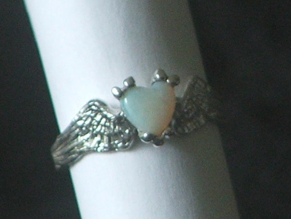 HEARTBEAT Remastered Sterling Silver Angel Fairy Wings With a Opal Heart