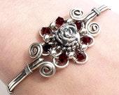 Silver and red rose bracelet, flower bangle, gothic bangle, dark red sterling silver bangle, wire wrapped jewelry handmade bracelet
