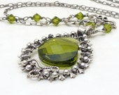 Olive green necklace, gothic sterling silver wire wrap necklace, winter jewelry