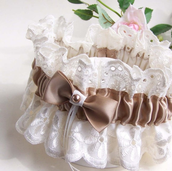 Ivory Garters Wedding: Wedding Garter Ivory Lace Champagne Brown By