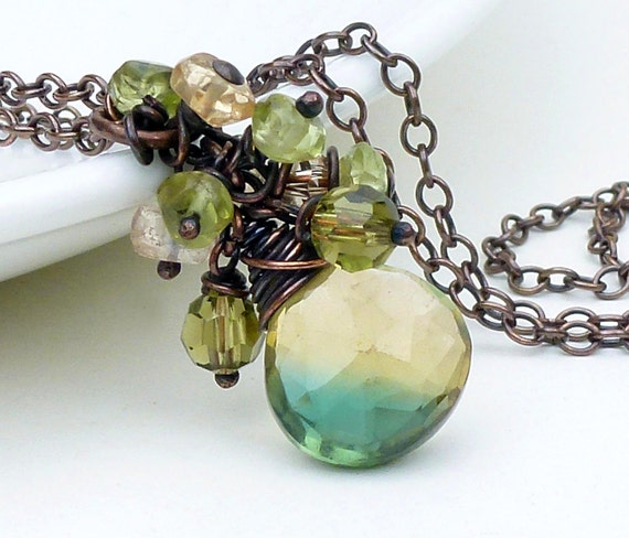 Copper wire wrap necklace, green quartz necklace, yellow and green briolette necklace, copper jewelry