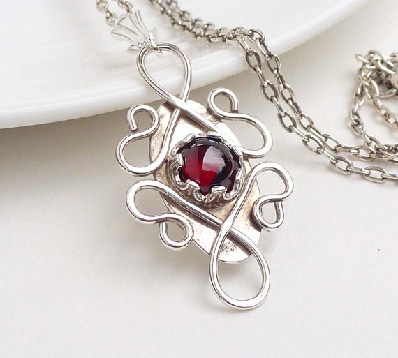Sterling silver garnet necklace, silver red gothic necklace, red garnet pendant, january birthstone jewelry