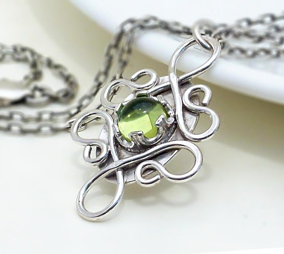 Silver peridot necklace, handmade wire wrapped necklace, peridot green gothic jewelry, sterling silver, peridot pendant