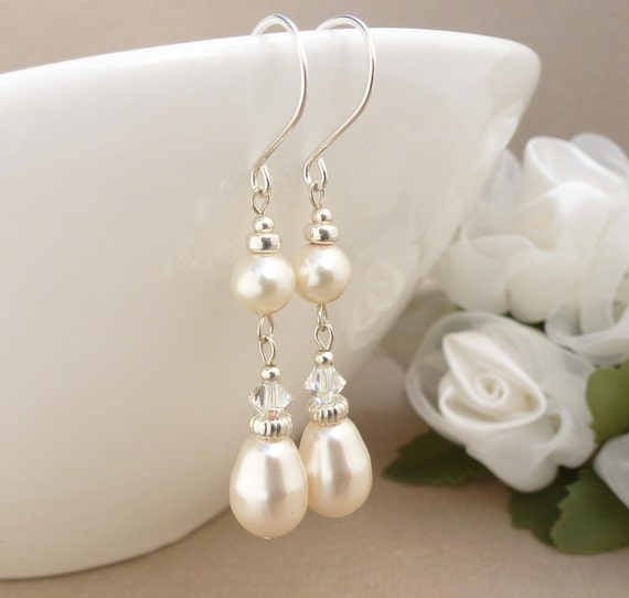 Long ivory pearl earrings, pearl drop earrings, wedding jewelry, sterling silver bridal earrings