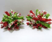 2 PETITE KORKER BOWS - Red\/Green\/White