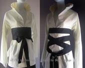 Kimono Blouse. White Blouse. Corset. Birdcage. Japanese Kimono Inspired. Kendo. Zen. Geisha. Anime. Aikido. Custom Made S, M, L, Plus Size.