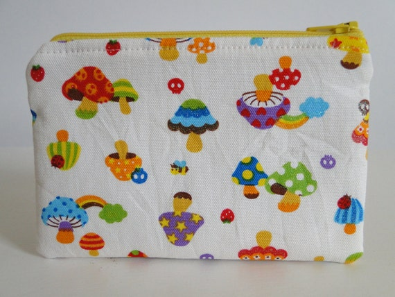 Free shipping - Small Zipper Pouch - Mushrooms