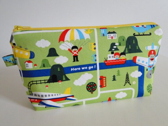 Free shipping - Trains Plains and Cars - Japanese fabric - flat bottom pouch small - padded
