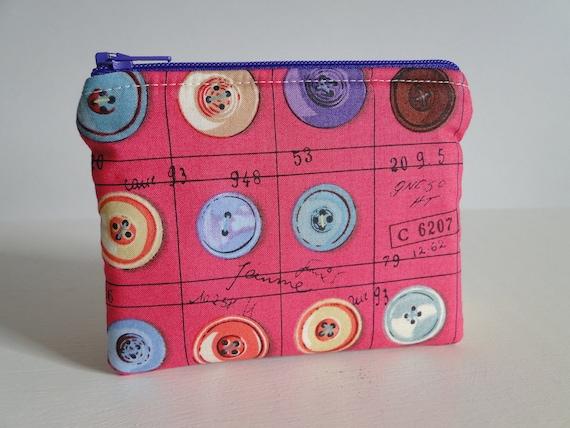 Free shipping - Mini zipper pouch or change purse - Buttons - Suzuko Koseki - japanese fabric