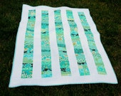 Handcrafted Blue Green Aqua Stacked Coins Baby Quilt