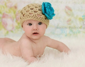 Baby Girl Hat with Removable Flower, Crochet Baby Hat, Girl Flower Hat, Spring Baby Hat