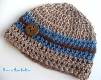 Baby Boy Hat - Baby Beanie Hat  - Just Like Daddy - Newborn to 3 months -  Available in Custom Colors