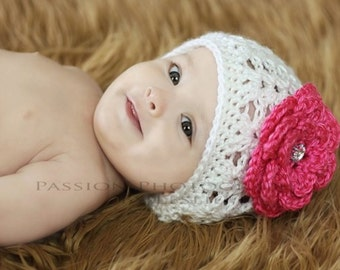 Baby Girl Hat With 2 Interchangeable Flowers , Crochet Baby Girl Hat, Newborn Baby Girl Hat, Toddler Girl Hat, You Choose Color and Size