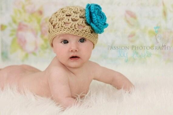 Spring Baby Girl Hat  - Newborn Hat - Girl Hat - Crochet Hat - Knit Hat - Flower Hat - Size Newborn to 4 Years - Includes 2 Flowers