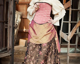 Pink and Brown Bustle Skirt