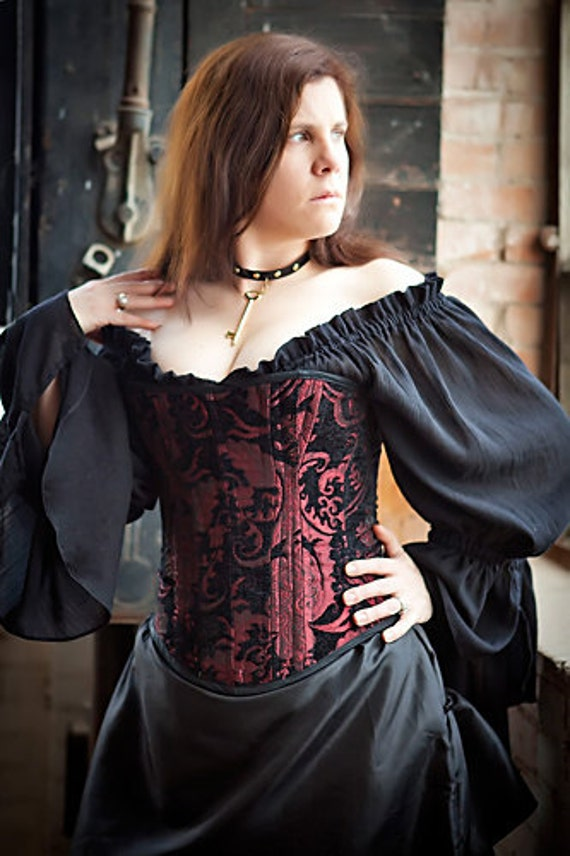Corset, Red and Black, Steampunk, Victorian, Renaissance, Pirate, Costume, Corset