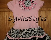 black and pink jayzel dress and matching flower and headband. ..and you pick the size